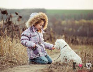 Foto de niña con su perro westy