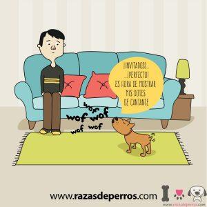 dibujo de perro ladrando a un invitado
